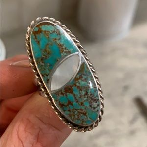 Size 6.5 Nevada Turquoise & Mother of Pearl